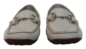 Geox Summer Breathable Loafer Silver Hardware White Flats