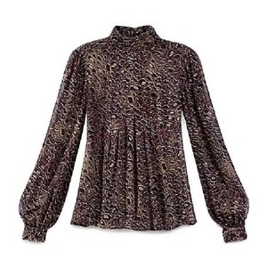 Tory Burch Top Coconut Abstract Leopard