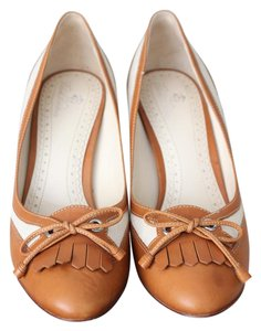 Brooks Brothers Summer Leather Woven Cognac Pumps