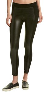 Rune NYC Faux Leather Panels Pull On Ponte Knit Black Leggings