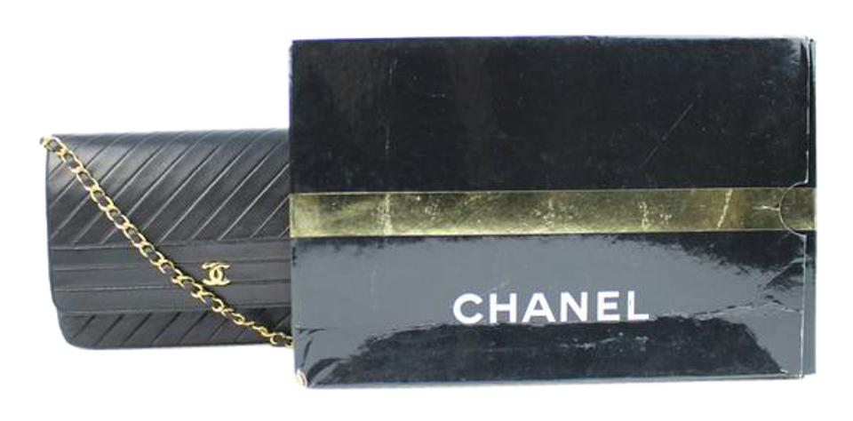 3ed1174770 Chanel Classic Flap W ( W/ Certificate ) 215343 Quilted Lambskin Chevron  Black Leather Shoulder Bag