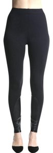 Rune NYC Faux Leather Panels Pull On Stretchy Black Leggings