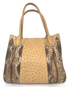 Francesco Santoro Ostrich Python Tan Shoulder Bag