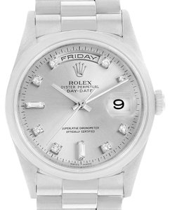 Rolex Rolex President Day-Date Platinum Silver Diamond Dial Watch 118206