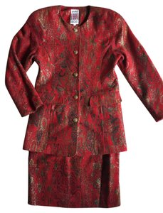 Other Red and Gold Floral 2-pcs Skirt Suit