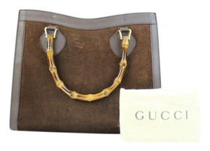 Gucci Bamboo Tote Bamboo Suede Tote Pebbled Leather Satchel in Brown