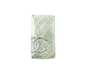 Chanel Quilted Cambon Leather Long Clutch Bifold Silver Wallet Italy