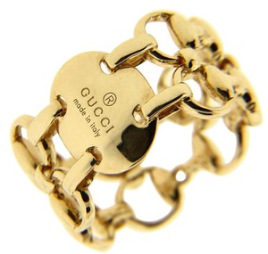 Gucci Gucci Double Horsebit Ring in 18k Yellow Gold New In Box Size 5.25