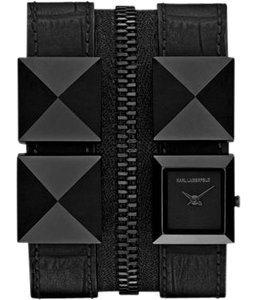 Karl Lagerfeld Karl Lagerfeld Black Double Band Leather Bracelet Watch KL2012