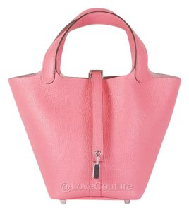 Hermès Picotin Lock Picotin 18 Clemence Leather Satchel in Pink Azalea