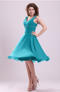 Teal Cute A-line Sleeveless Chiffon Knee Length Ruching Bridesmaid Dresses Dress