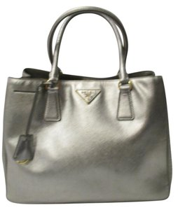 Prada Leather Gardner's Medium Double Snap Italy Tote in Silver