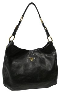 Prada Large Textured Leather Gold Hardware Italy Hobo Bag