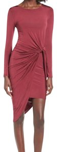 ASTR Ruched Twist Knotted Bunched Cocktail Dress