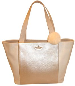 Kate Spade Refurbished Leather X-lg Tote in Cream Pearl and Beige