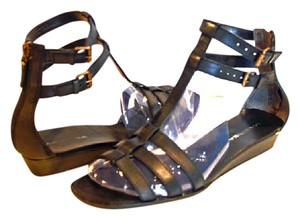 Via Spiga Wedge Flat Strappy Zip Zipper Black Sandals