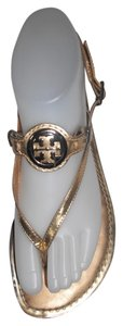 Tory Burch Leather Logo Thong Flats Gold Sandals