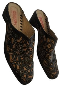 PIKOLINOS Black and Tan Mules