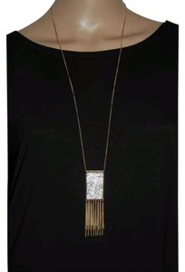 Guess Gold tone clear crystal fringe pendant necklace