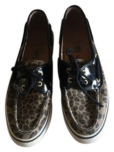 Sperry black and leopard Athletic