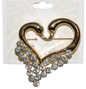 Anne Klein Gold tone crystal heart double swan pin brooch