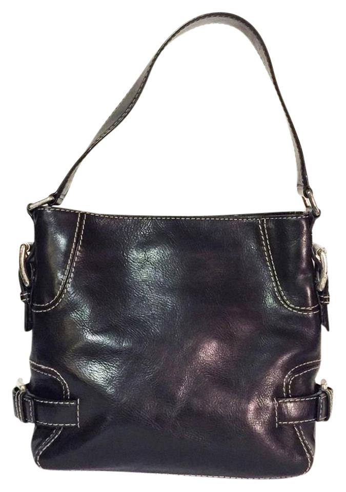 eae1aa35685a Michael Kors Vintage Buckle Shoulder Handbag Black Leather Hobo Bag ...