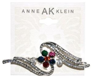 Anne Klein Silver tone multicolored crystal floral pin brooch