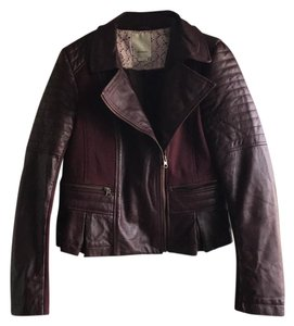 Anthropologie Burgundy Leather Jacket