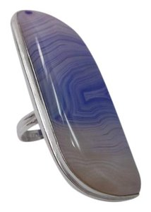 Other Pre-Owned Blue Lace Agate Gemstone Ring Marked in 925 Silver Size 7.5