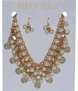 Ellen Tracy Gold tone faux pearl charm necklace and earrings
