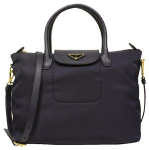 Prada Leather Nylon Saffian Tote in Black