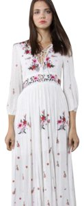 white with floral embroidery Maxi Dress by chich wish