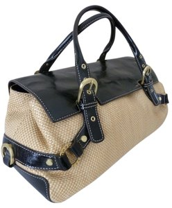 Adrienne Vittadini Leather Straw Summer Satchel in Black & Tan
