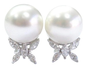 Other 18Kt South Seas Pearl Diamond White Gold Stud Earrings 13mm 1.15Ct