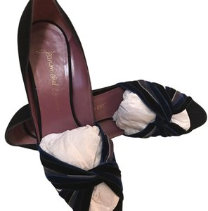 Jean-Michel Cazabat black suede with black, navy blue, and silver velvet at toe Pumps