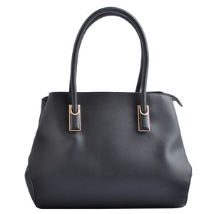 USO COUTURE Leather Handbags Luxury Tote in Black