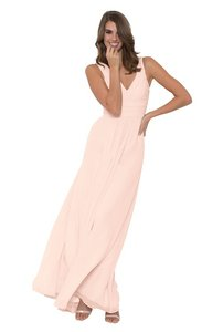 Monique Lhuillier Blush Chiffon Rebecca Bridesmaid/Mob Dress Size 6 (S)