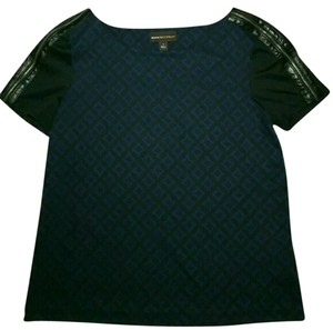 Dana Buchman Geometric Casual Knit Faux Leather Zippers T Shirt Blue, Black