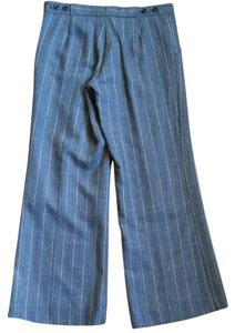 Chaiken Wide Leg Pants Medium gray with stitched pastel rainbow pinstripes.