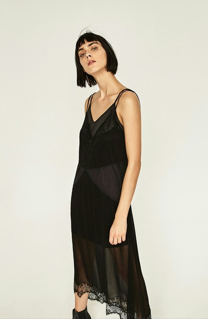 acdb39e3f5 Zara Black New with Tags Sheer Camisole Long Casual Maxi Dress Size ...