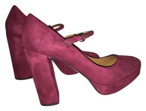 Coach Mary Jane Chunky Heels Suede Oxblood Platforms