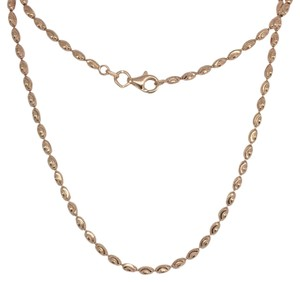 Other 925 Sterling Silver Rose Gold Plated Diamond Cut Rice Bead Chain 18