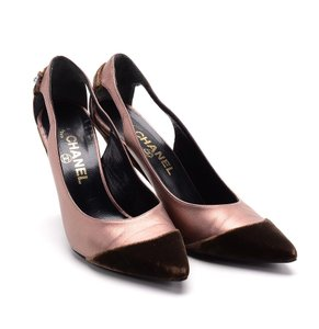 Chanel Leather Velvet brown and rose (pink) Pumps