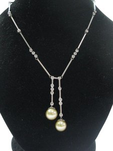 Other Fine South Sea Pearls Diamond 14Kt White Gold Drop Necklace 10.6-11mm