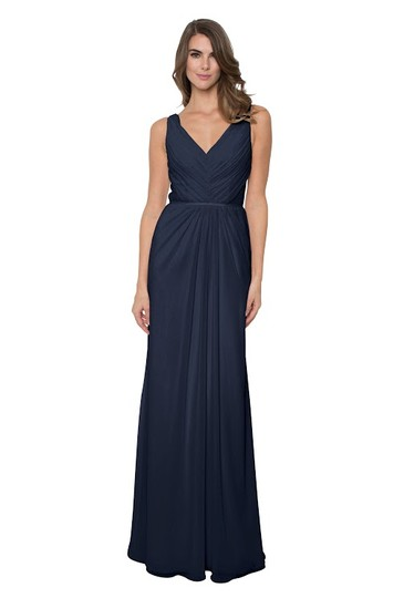 Monique Lhuillier Navy Chiffon Amelia Bridesmaid/Mob Dress Size 12 (L)