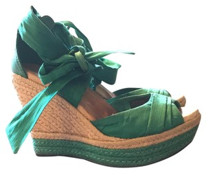 UGG Australia Espadrilles Green Silk Leather Teal Wedges