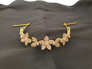 Gold And Crystal Flower Hair Accessory