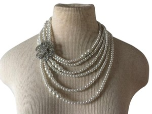 Anthropologie Silver flower Pearl