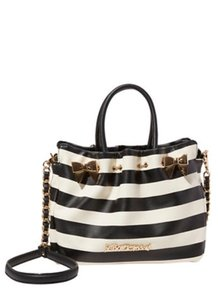 Betsey Johnson Striped In A Pinch Crossbody Satchel in Black