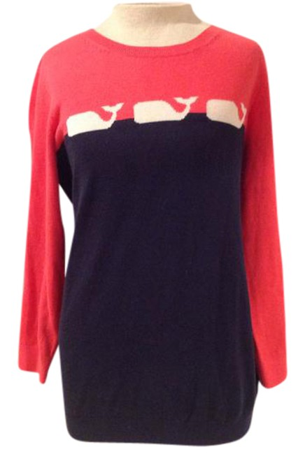 Preload https://img-static.tradesy.com/item/21024494/vineyard-vines-pink-and-navy-blue-cotton-cashmere-sweaterpullover-size-10-m-0-1-650-650.jpg